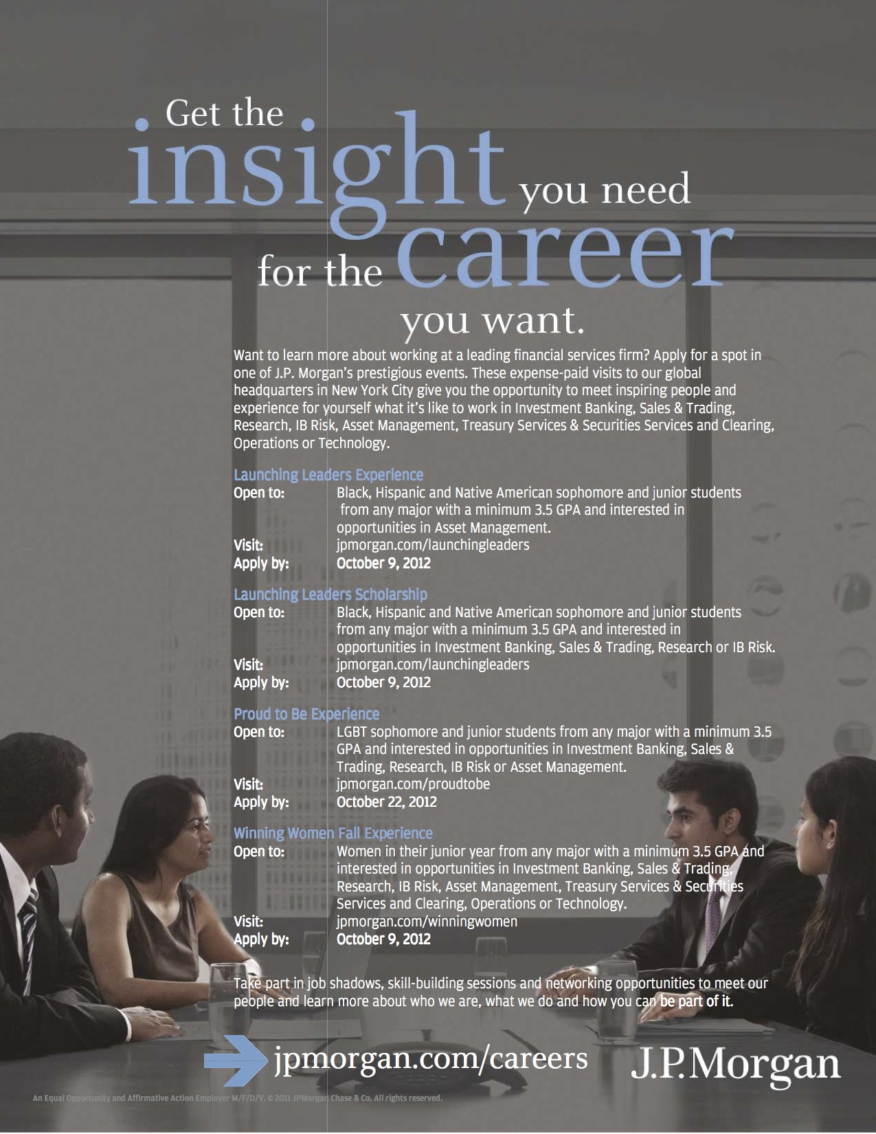 Special Diversity Opportunities for Students of Color – JP Morgan